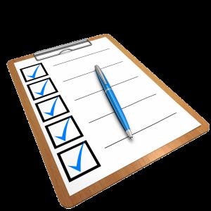 checklist on a clip-board