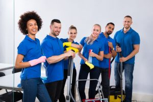 commercial cleaning team